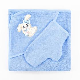 Набор для купания (полотенце-уголок, рукавица), размер 100х110 см, цвет голубой (арт. К24)