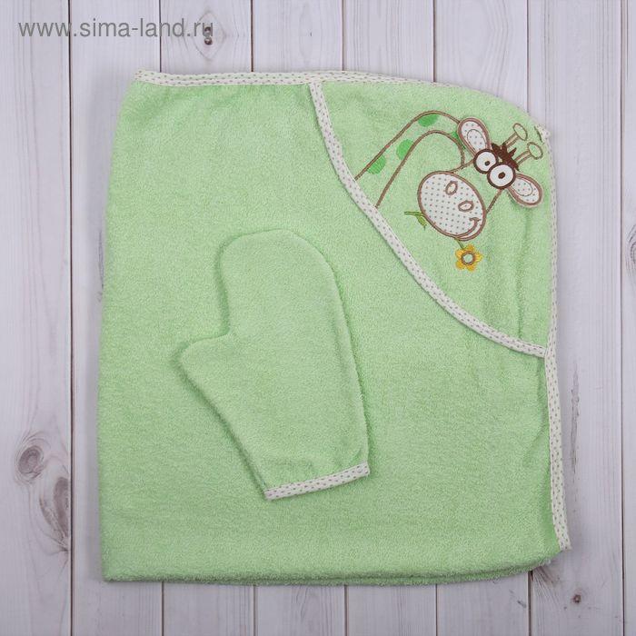 """Набор для купания (полотенце-уголок, рукавица) с вышивкой """"Жираф"""", размер 100х110 см, цвет зелёный (арт. К24/2)"""