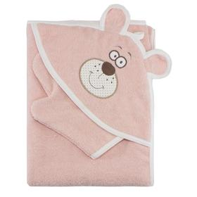 """Набор для купания (полотенце-уголок, рукавица) с вышивкой """"Мишка"""", размер 100х110 см, цвет персиковый (арт. К24/1)"""