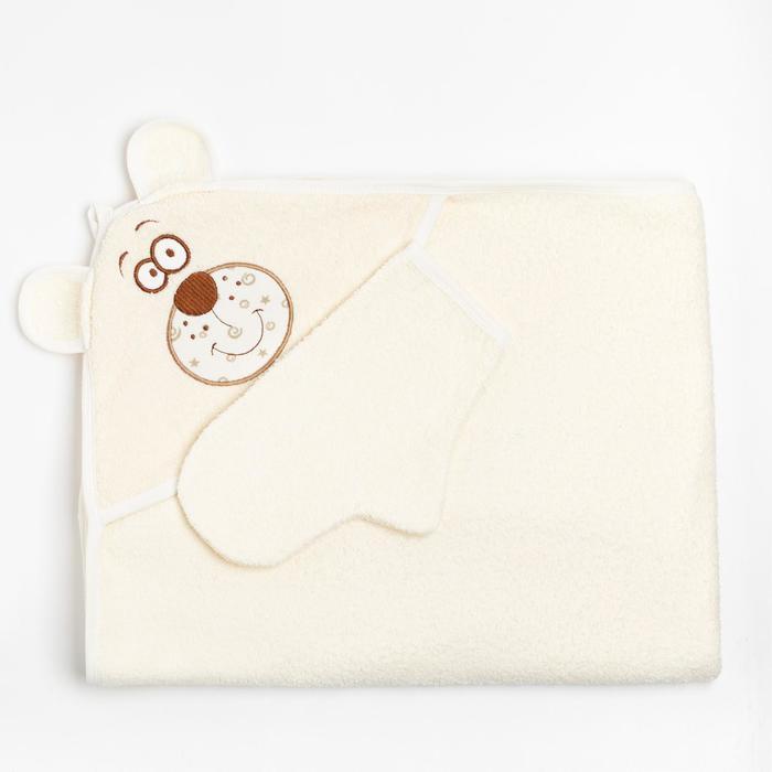 """Набор для купания (полотенце-уголок, рукавица) с вышивкой """"Мишка"""", размер 100х110 см, цвет бежевый (арт. К24/1)"""