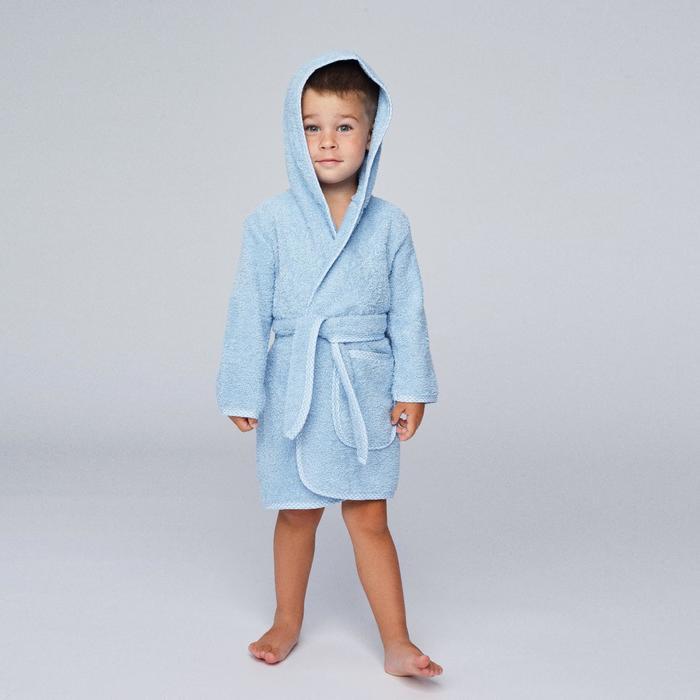 Халат махровый для мальчика, рост 110-116 см, цвет голубой К07_Д - фото 1394837