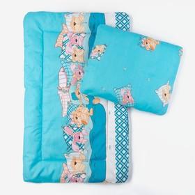 Комплект в коляску (матрасик 70*40 см, подушка 30*40 см), холлофайбер цвет МИКС К21 250г/м