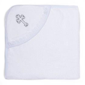 Полотенце-уголок для крещения с вышивкой, размер 100*100 см, цвет белый К40/1