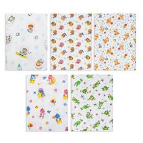 A set of diapers flannel (5 pcs.), Size 120x90 cm, white, print mix K729-05