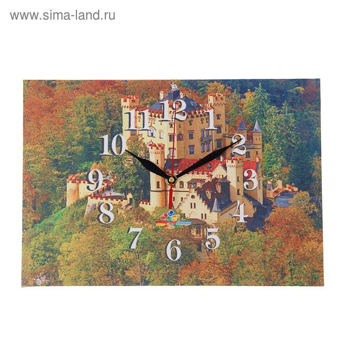 """Часы на холсте прямоугольные """"Замок в горах"""", 25х35 см"""