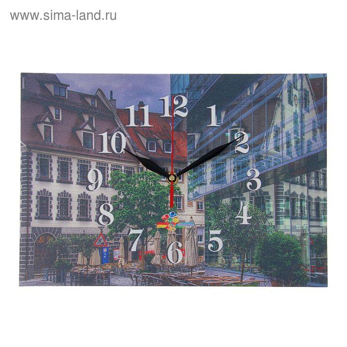 """Часы на холсте прямоугольные """"Старый квартал"""", 25х35 см"""