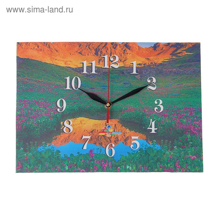 """Часы на холсте прямоугольные """"Рассвет на лугу"""", 25х35 см"""