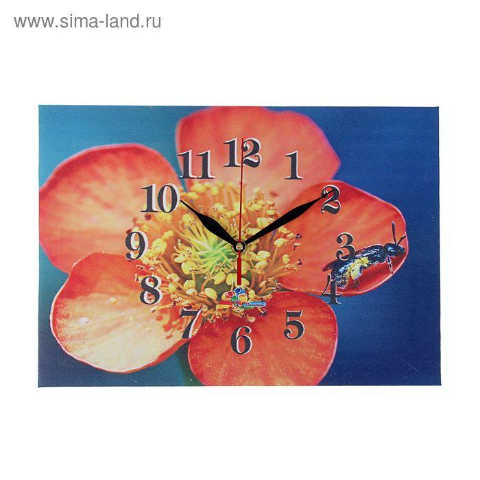"""Часы на холсте прямоугольные """"Красный цветок"""", 25х35 см"""