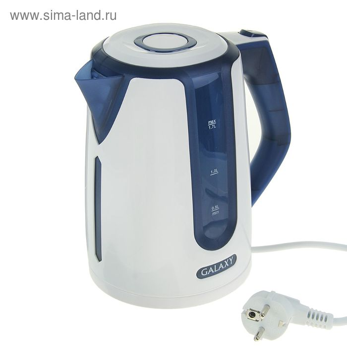 Чайник электрический Galaxy GL 0207, 2200 Вт, 1.7 л, автоотключение при закипании, синий