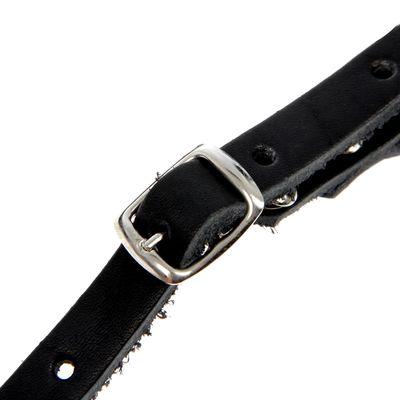 Намордник кожаный сетчатый с перемычкой №4 ротвейлер, ДН 9 см, ОМ 34 см, микс