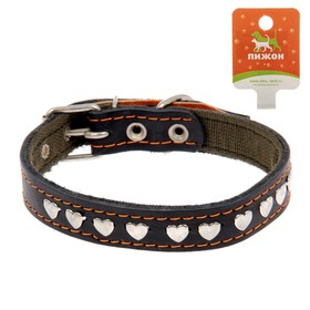 Collar combo leather/canvas, 54 x 2.5 cm decorated with a mix of types and colors