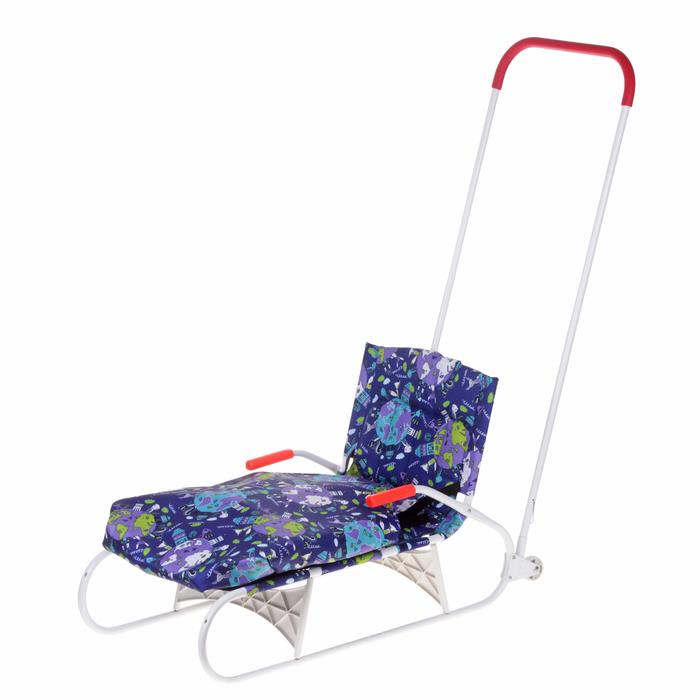 Санки складные с толкателем, колёсиками и съёмным чехлом для ног, цвет голубой