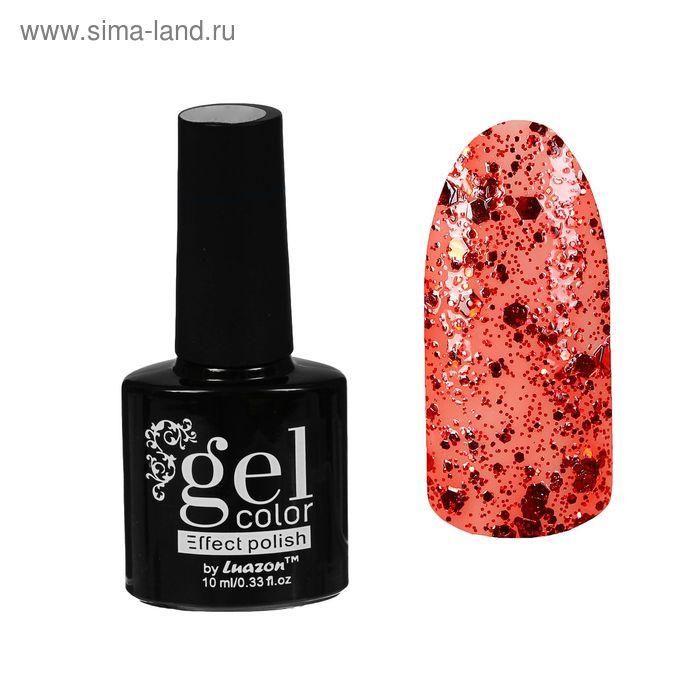 Лак для ногтей с эффектом гелевого покрытия 10 мл 6602-36 красный блестки