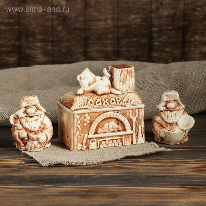 """Набор для специй """"Печь-сахарница с домовятами"""" 3 предмета"""