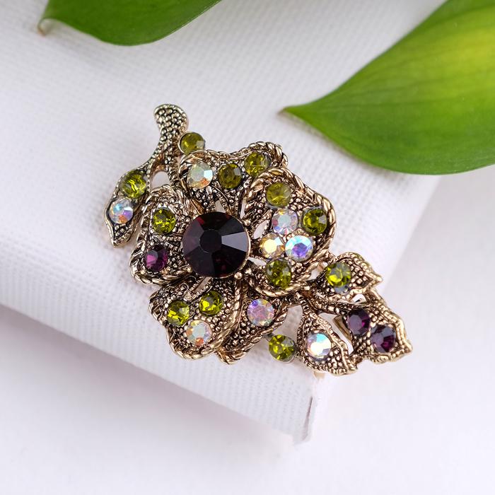 """Брошь """"Цветок"""" орхидея, цвет фиолетово-зеленый в черненом золоте"""