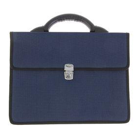 """Портфель деловой ткань 350 х 260 х 100 мм,""""Выборг"""", синий"""