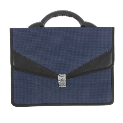 """Портфель деловой ткань 350 х 260 х 100 мм,""""Ладога"""", комбинированный, 2 отделения, синий"""