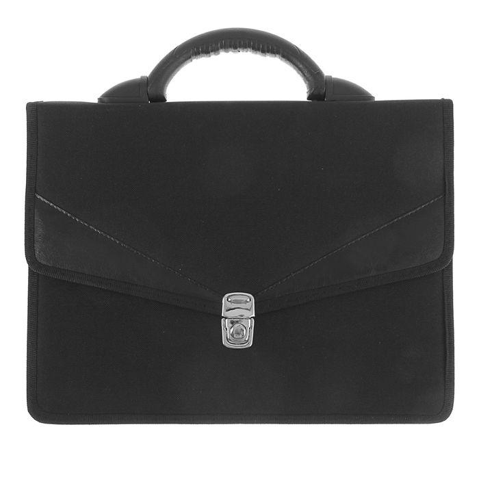 Портфель деловой «Ладога», 350 х 260 х 10 мм, ткань, 2 отделения, чёрный