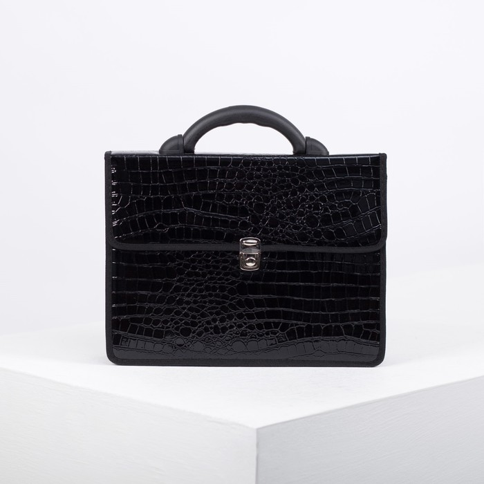 Портфель деловой, 2 отдела, цвет чёрный