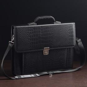 e786c98f5785 Портфель деловой, 2 отдела, наружный карман, длинный ремень, цвет чёрный,  крокодил
