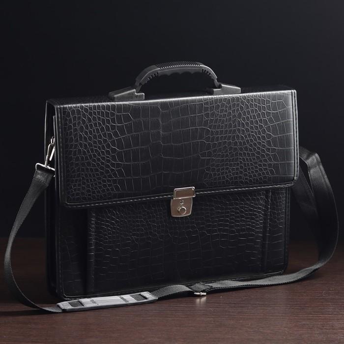 Портфель деловой, 2 отдела, наружный карман, длинный ремень, цвет чёрный, крокодил