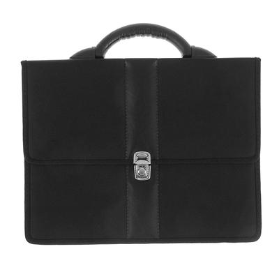 Портфель деловой ткань 370 х 290 х 100 мм, «Всеволожск», комбинированный 5 отделений, чёрный