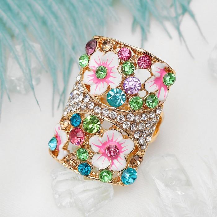 """Кольцо """"Цветы"""" летнее настроение, цветное размер МИКС"""