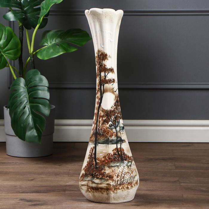 """Ваза напольная """"Лилия"""" под шамот, природа, 67 см, микс, керамика - фото 891657"""