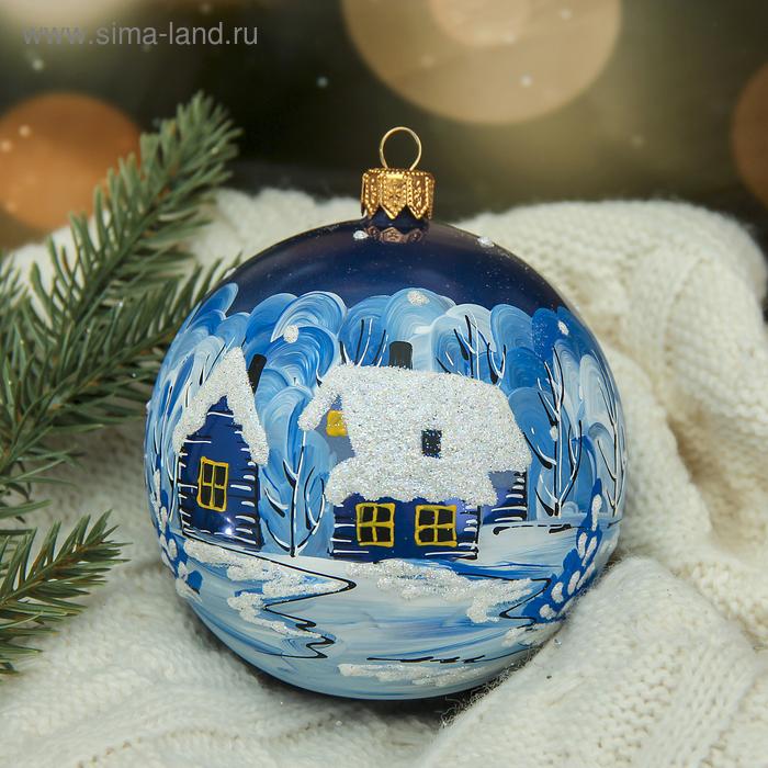 """Новогодний шар ручной работы """"Деревенька"""" микс"""