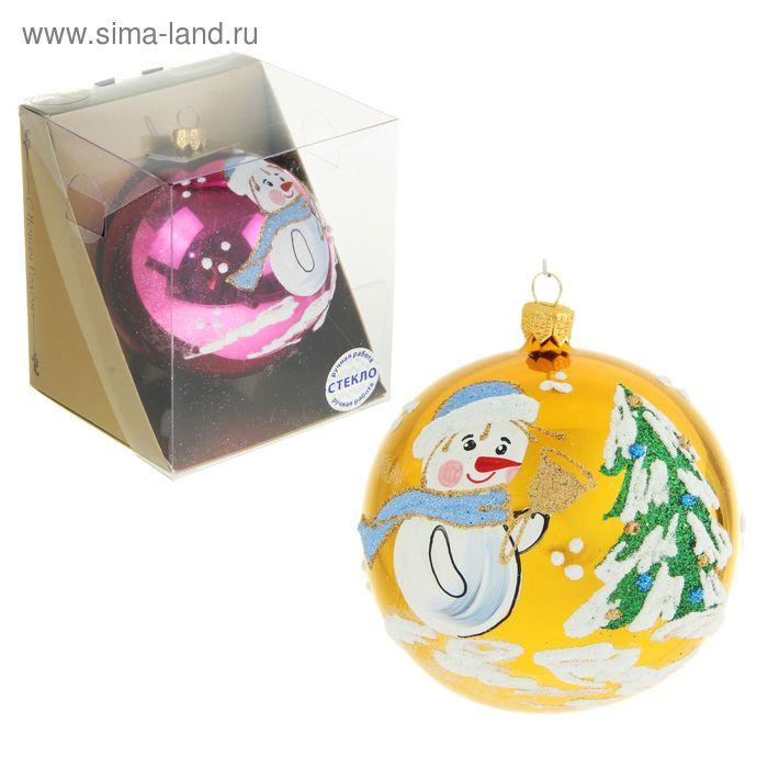 """Новогодний шар ручной работы """"Снеговик с ёлкой"""" микс"""