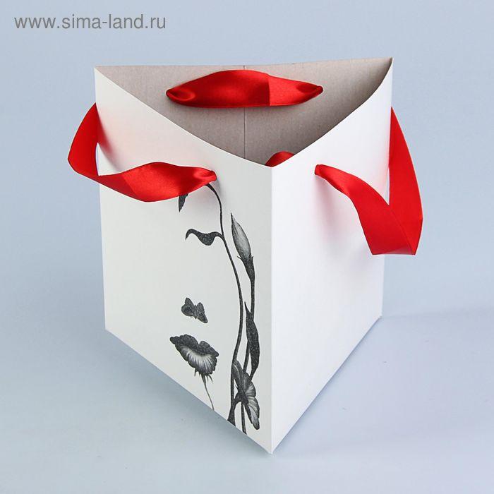 """Пакет для цветов """"Взгляд девушки"""" треугольный, 20х20х20 см"""