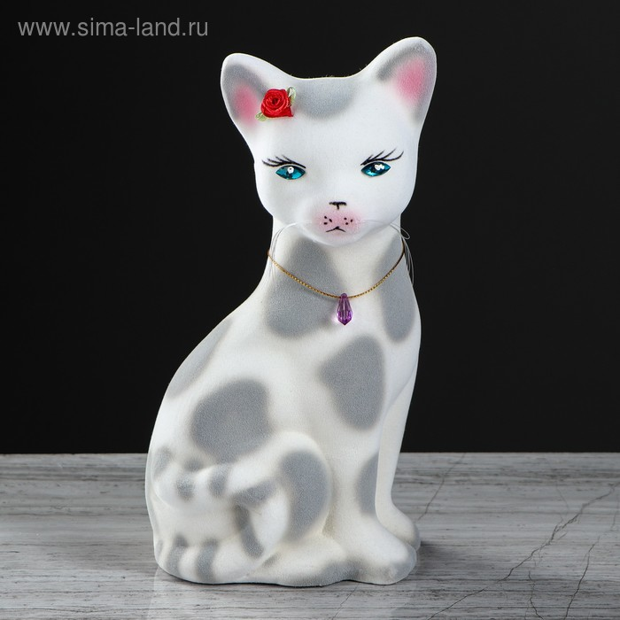"Копилка ""Кошка Лиза"" флок, белый леопард"