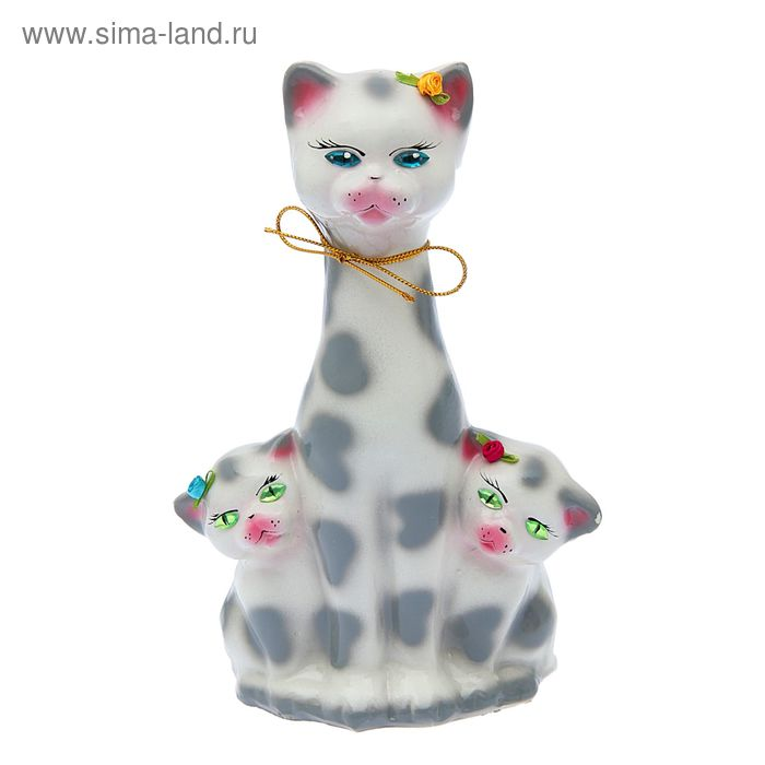 "Копилка ""Кошка с котятами"" глянец, белый леопард"