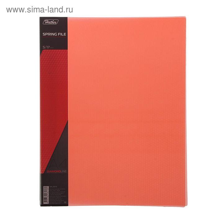Папка А4 с пружинным скоросшивателем DIAMOND, 700мкм, торцевой карман с бумажной вставкой, полупрозрачная красная