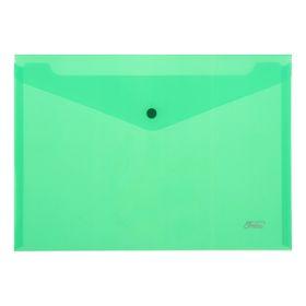 Папка-конверт на кнопке А4, 180 мкм, зеленая