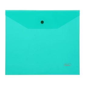 Папка-конверт на кнопке А5, 180 мкм, зелёная