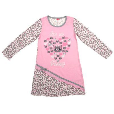 Сорочка ночная для девочки, рост 104 см (56), цвет розовый/серый