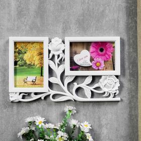 """Фоторамка """"3 розы"""" на 2 фото 10х15 см, белая"""