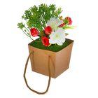 """Цветочная композиция в коробке со шнурком """"Розы с зеленью"""""""