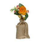 Цветочная композиция в холщовом мешочке розы 17*8 см