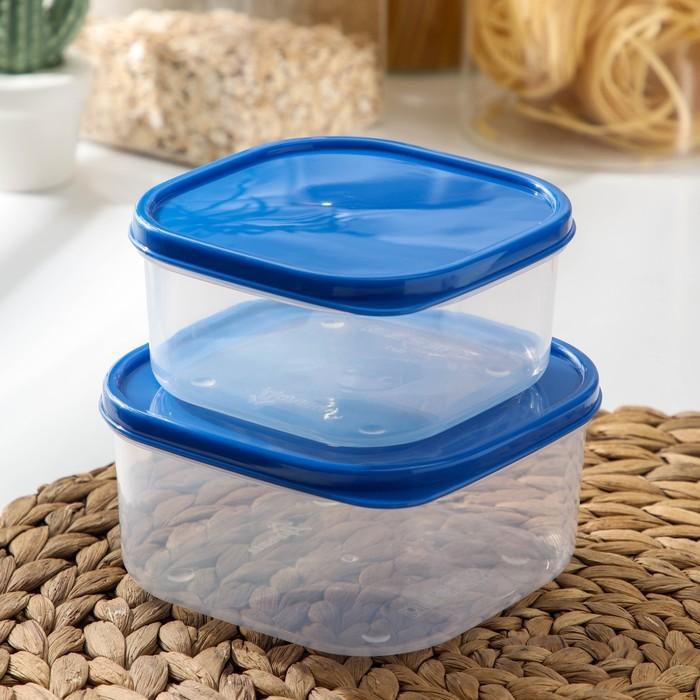 Набор контейнеров пищевых, квадратных, 2 шт: 450 мл; 700 мл, цвет голубой