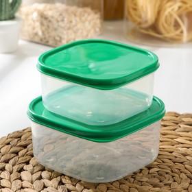 {{photo.Alt || photo.Description || 'Набор контейнеров пищевых Доляна, квадратных, 2 шт: 450 мл; 700 мл, цвет зелёный'}}
