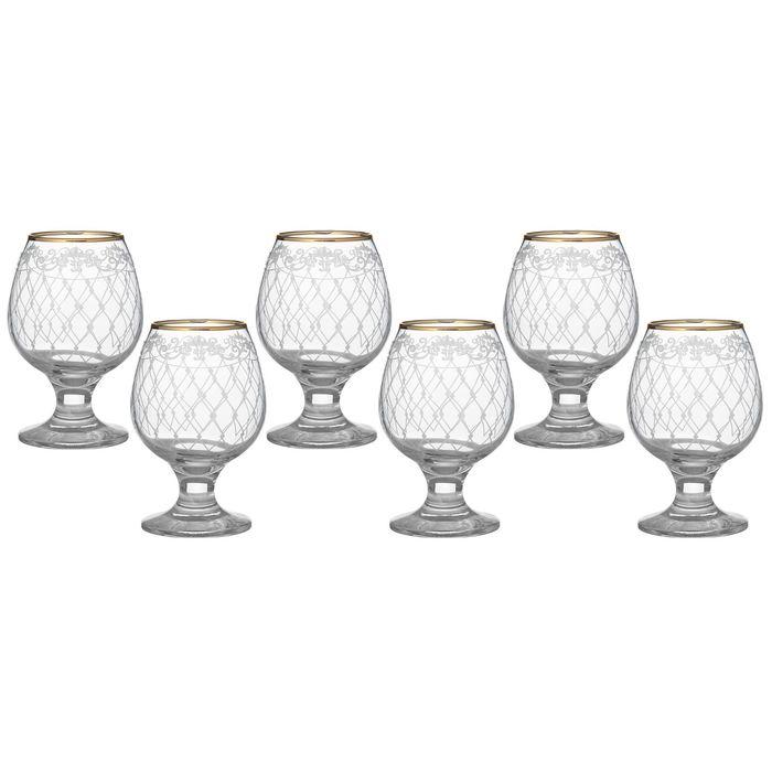 """Набор бокалов для бренди 250 мл """"Винтаж"""", 6 шт, гравировка, отводка золотом"""