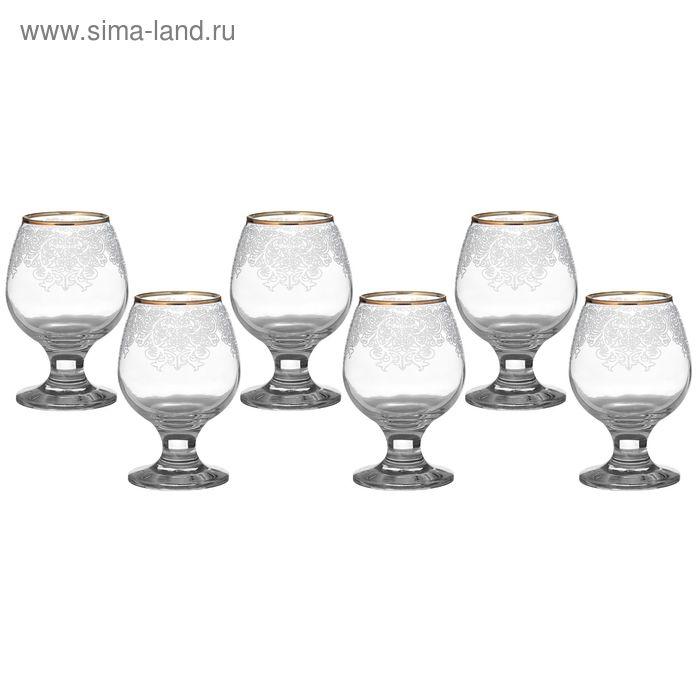 "Набор бокалов для бренди 250 мл ""Боярский"" 6 шт гравировка, золото"
