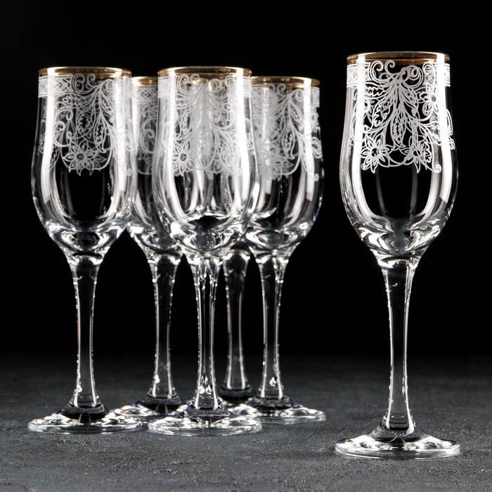 """Набор бокалов для шампанского 200 мл """"Акация"""", 6 шт, гравировка, отводка золотом"""