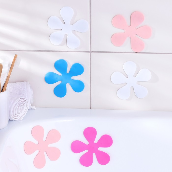 Набор мини-ковриков для ванны Доляна «Цветочек», 10,5×10,5 см, 6 шт, цвет МИКС