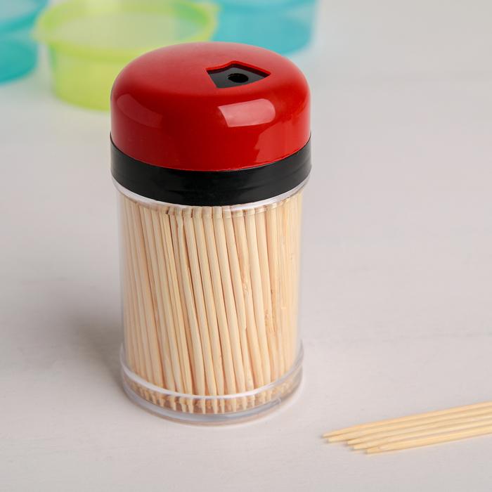 Зубочистки 250-270 шт, в пластиковой баночке, цвет МИКС