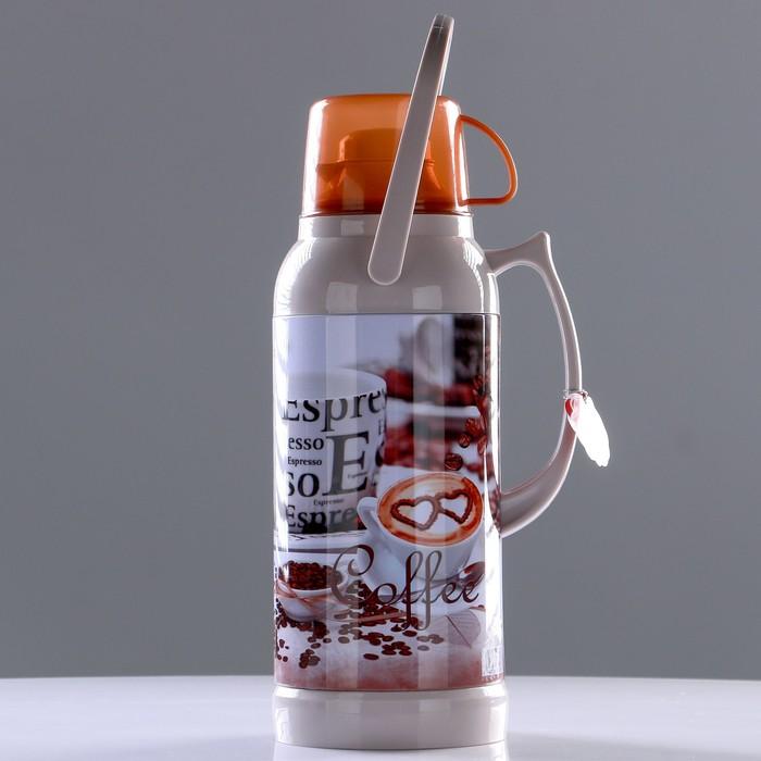 "Термос ""Coffee"" 3.2 л, кнопка, 1 кружка, микс, 21х44.5 см - фото 1966221"