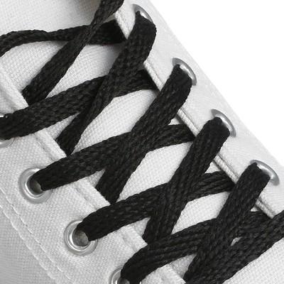 Шнурки для обуви плоские, ширина 7мм, 160см, цвет чёрный