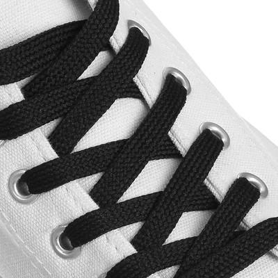 Шнурки для обуви плоские, ширина 7мм, 120см, цвет чёрный